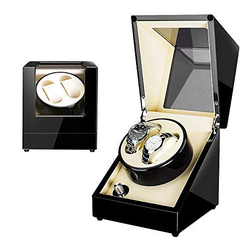 DKZK Automatischer Uhrenbeweger, Uhrenbox Uhrenbeweger Stummschaltung für 2 Uhren Luxuriöser Uhrenbeweger Uhr Plattenspieler Holz Aufbewahrungsbox mit Glasfenster