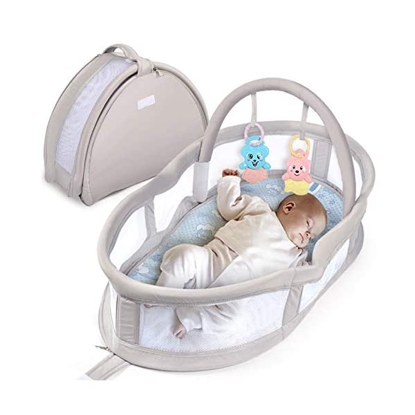YANGGUANGBAOBEI Portable Baby Crib - Breathable And Hypoallergenic Toddler Newborn Co-Sleeping Lounger Bed For 0-24 Months YANGGUANGBAOBEI [BREATHABLE - WASHABLE]: Thousands of mesh holes and elastic layer maintain air circulation. The baby sleep pod can offer your baby good breathing environment when he sleeping. Even after repeated washing, its zipper will remain well. [ADJUSTABLE - FOLDING]: The slope of the head position of the baby bed can be adjusted from 5 to 30 degrees, it is not only suitable for sleeping, but also can be a baby bean bag. The folding design is easy to carry When you travel outside. [SOFT PAD - INSIDE DIMENSIONS]: This baby frame comes with an extra soft foldable cushion. You don't have to add anything extra to make your baby feel comfortable. The plastic frame is BMC material which is very light and firm. 1