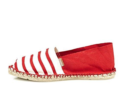 Espadrij l'originale Damen Classic Baumwoll Espadrilles e Ecru/Rouge-Rouge Größe 40