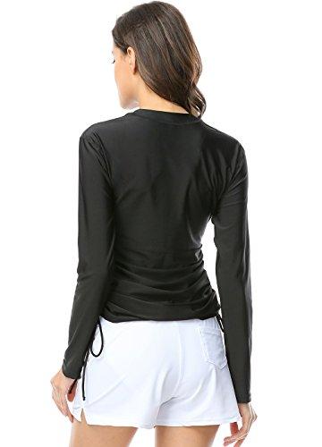 OUO Damen UV Schutz Shirt Rash Guard Long Sleeve Schwimmshirt Wassersport Anzüg Schwarz