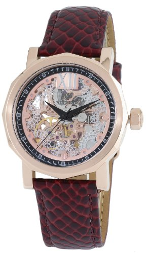 Wellington Ladies Automatic Watch with Pink Dial Analogue Display and Red Leather Strap WN113-308