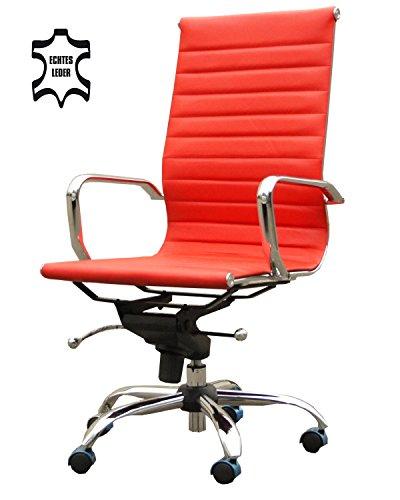 Bürostuhl Rot Echt Leder Schreibtischstuhl Drehstuhl Chefsessel Stuhl Sessel Alpha Elegance