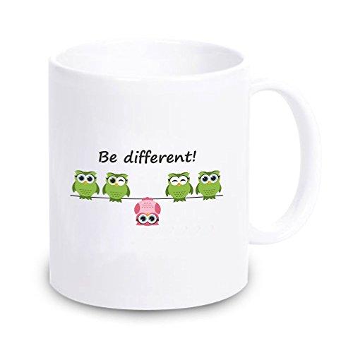"""Tasse \""""Be different\"""" (Eulenmotiv) - für ihn/ für sie- Kaffeebecher - Geschirr-, Geschenkidee, Weihnachtsgeschenk, Geburtstagsgeschenk, Dekoration, ausgefallen originell"""