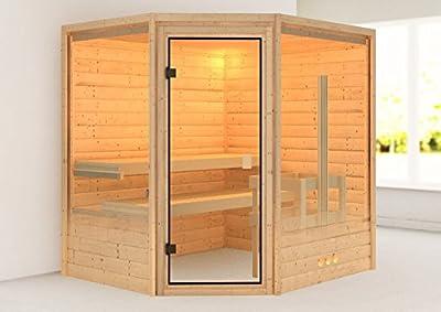 Karibu Sauna Elia mit Dachkranz (Eckeinstieg) - für niedrige Räume von Woodfeeling GmbH bei Du und dein Garten