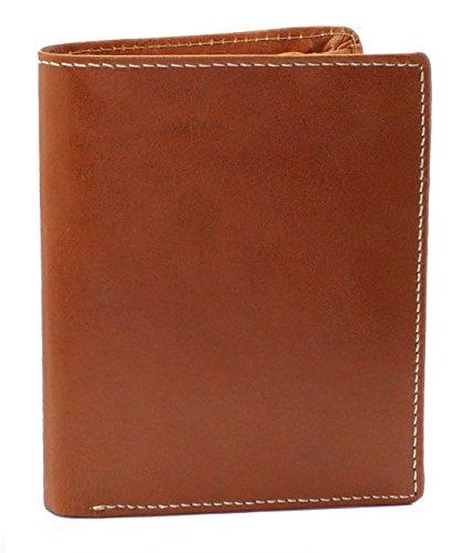 Topsum London Herren Weiche Pflanzlich Gegerbte Leder-Zweifach-Brieftasche. Mit Langer Reißverschluss-Tasche & ID-Karte Fenster - 4016 (Handgefertigte Geldbörsen Taschen)