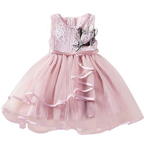 Cramberdy Baby Mädchen Prinzessin Kleid Blumenmädchenkleid Taufkleid Festlich Kleid Hochzeit Partykleid Festzug Babybekleidung Mädchen Spitze Prinzessin Rock Sommer Kleider für Baby Kleinkinder