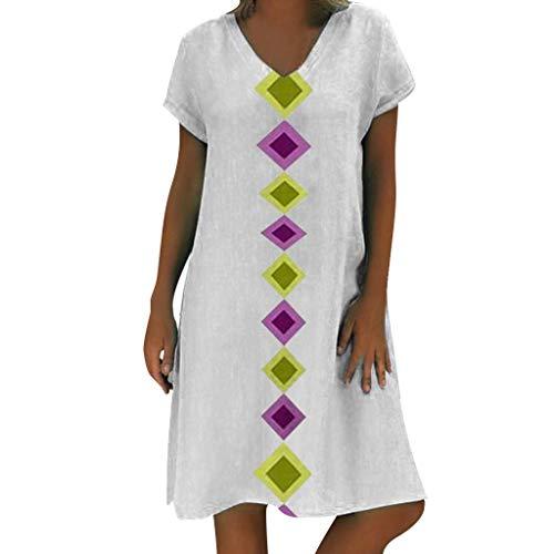 r Damen Oberteil Stil Solide Vestido Strand T-Shirts Baumwolle Beiläufig Bluse Plus Größe Kleid Für Frauen Mädchen(X5-Weiß,EU-36/CN-M) ()