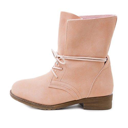 Damen Stiefel Stiefeletten Schnür Boots Lederoptik Pink Vertigo
