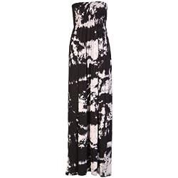 Janisramone Womens Ladies Plus size Printed TETA tubo elástico Sheering Maxi vestido BLACK TIE DYE S/M (38 - 40)