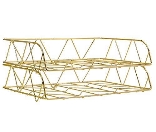 PAG 2 Stück Metall stapelbar Horizontal Ordner Dokumentenablage Büro Schreibtisch Organizer gold