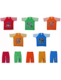 Green Tee Baby Boys Cotton Top and Bottom Sets - Pack of 5 (12-18Months)(Multi-Color)