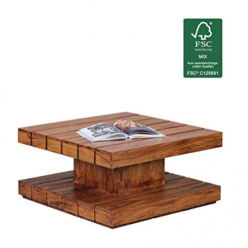 WOHNLING Couchtisch Massiv-Holz Sheesham 90 cm breit Wohnzimmer-Tisch Design dunkel-braun Landhaus-Stil Beistelltisch Natur-Produkt Wohnzimmermöbel Unikat modern Massivholzmöbel Echtholz quadratisch