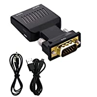AXspeed VGA Male to HDMI Female Converter with Audio Full HD VGA to HDMI Adapter Cables 1080P for HDTV Monitor Projector Displayer Laptop