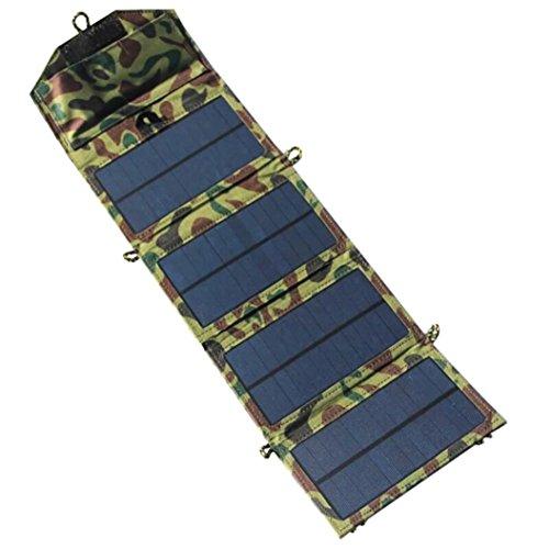 Portable Solar-Ladegerät für iPhone/Handy + 7W Solar Panel + Faltbare USB-Ladegerät Brieftasche Beste Wahl für Outdoor-Abenteuer, Wandern, Camping, Wandern, etc. (Tarnung)
