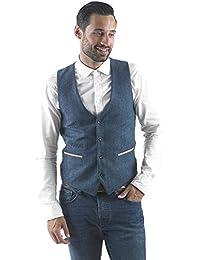 Marc Darcy Mens Designer Blue Vintage Tweed Herringbone Check Blazer Or Waistcoat