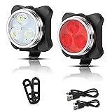 Holeider USB Wiederaufladbare Fahrradlampe Set, Super Helle Front und Hintere LED Fahrrad Licht Set, 3 Licht Modus Optionen, Wasserdicht, Passt Alle FahrräDer (A)