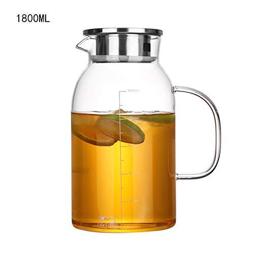 LNTE Eiskalte Saftkaraffe 1800ML Hohe Borosilikatglas Hohe Kapazität Hohe Temperaturbeständigkeit Mit Deckel Wasserglas Für Gesunde Fruchtaufgüsse Kalte Getränke Eistee Und Saftgetränke