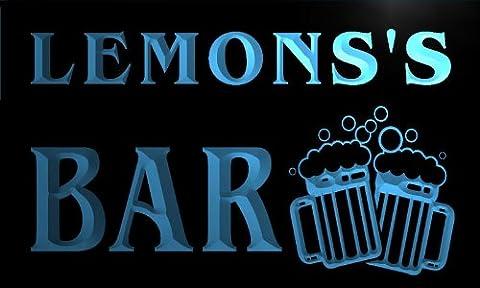 w002757-b LEMONS'S Nom Accueil Bar Pub Beer Mugs Cheers Neon Sign Biere Enseigne Lumineuse
