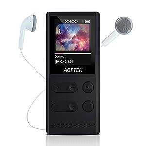 AGPTEK A22- Solare Lettore MP3 8 GB con Radio FM e Registratore Vocale, Super Audio durata 60 ore, Colore Nero