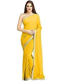 Fashion Manhattan Women's Georgette Saree With Blouse Piece (Fmvss-15, Yellow, Free Size)