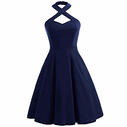 Shanxing Damen Neckholder Kleid Rockabilly 1950er Cocktail Party Vintage Kleider(XXL(EU 46-48),Marine Blau) (Marine-blau Sommerkleid)