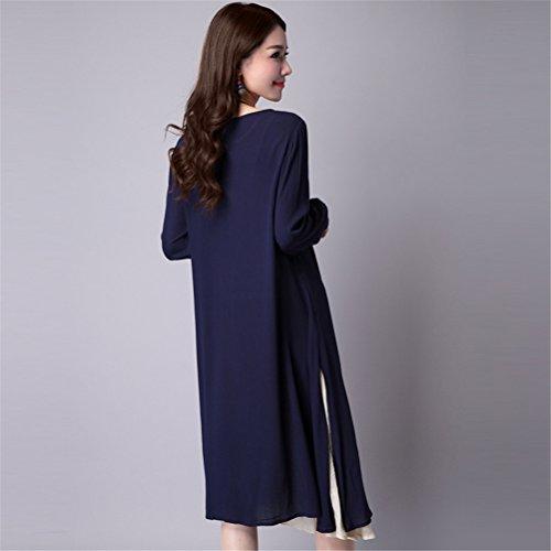Faux Deux Pièces en vrac Coton Lin Robe manches longues Womens Retro chinois Vent Bleu