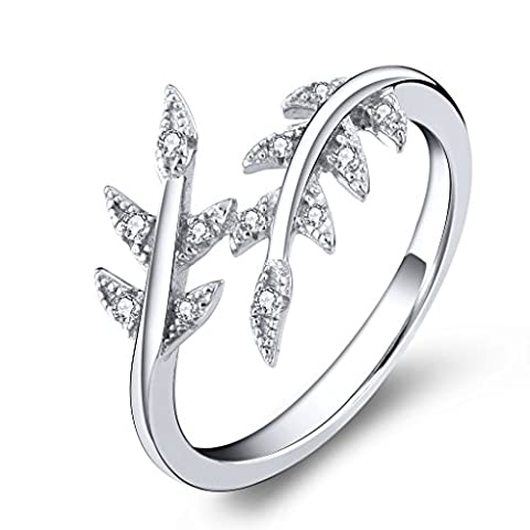 YL JEWELRY Bague Argent Sterling 925 Oxyde de Zirconium Forme de la Feuille Bijoux Pour Femmes