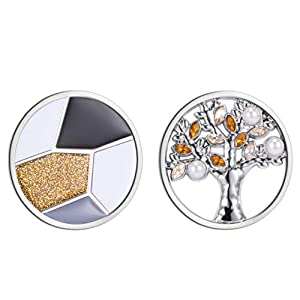 Meilanty 2 Coins 33mm Lebensbaum Anhänger Perle Zirkonia Schmuck