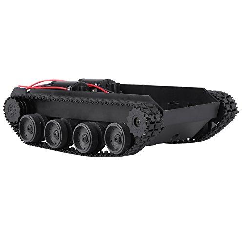 Zunate Tankchassis,Aufgespürter Auto Intelligent Leichte stoßdämpfende Plastiktank-Bausatz,130 Motor,3V-7V, zur Herstellung von Panzerspielzeug Roboterprojekten usw (Power Volt Batterie 6 Wheels)