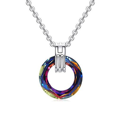 Thwjsh collana da donna in argento sterling blu cristallo swarovski collana con pendente tondo collana in platino con collana di rame da donna-volcaniccolor