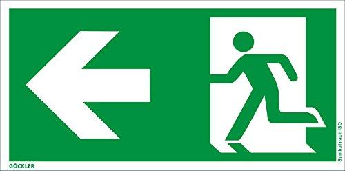 Notausgang Schild ISO 7010 gem. ASR A1.3, in 300x150 mm Kunststoff-Platte, links-Flucht-Rettungswegzeichen