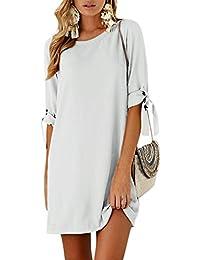 4c463c13578 YOINS Women Mini Dresses Summer T Shirt Tunics Self-tie Half Sleeves Solid Crew  Neck