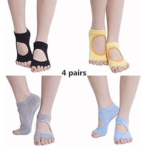 peacoco antiscivolo Yoga Pilates Barre Mezza Toeless calzini con impugnature per 4 paia da donna black grey blue yellow