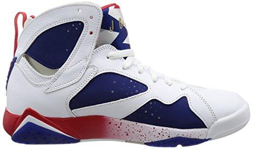 Nike Air Jordan 7 Retro, Scarpe da Basket Uomo Blanco (white/mtlc gold coin-deep royal blue)