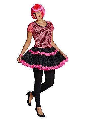 Damen Kostüm 80er Jahre Netzkleid neon-pink Karneval Fasching - Neon-80er-jahre-halloween-kostüme