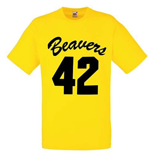 Beavers 42 Yellow T-Shirt for 80s Teen Wolf Fancy Dress