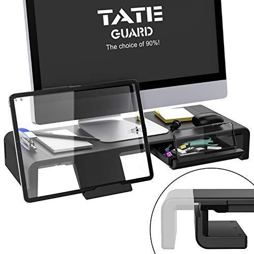 Faltbarer Monitorständer Riser TATEGUARD Computer Monitorständer mit Verstellbarer Breite für iMac Drucker Laptop mit Aufbewahrungsschublade Tablet & Handyständer Halter Schwarz
