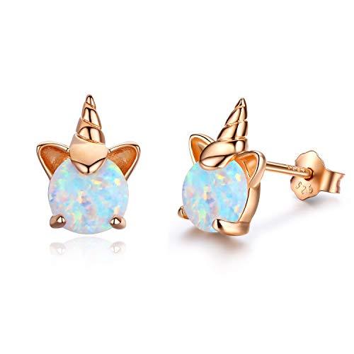 Ohrringe Mädchen Einhorn Ohrstecker Silber 925 Ananas Ohrringe Damen Opal Schmuck Geschenke für Frauen Kinder (B-Rose gold)