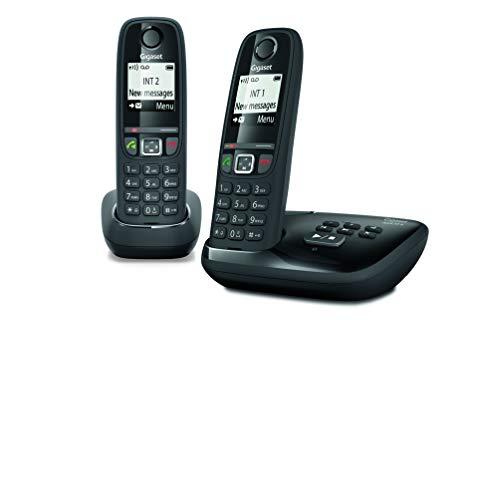 Gigaset AS470A Duo - Téléphone fixe sans fil - Répondeur - 2 combinés - Noir