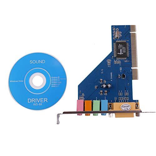 HoganeyVan Einfache und Bequeme 4-Kanal 5.1 15-Pin Surround 3D PCI Sound-Audiokarte für PC Windows XP/Vista / 7 -