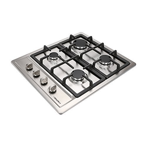 WindMax 60 cm Kitchen Stainless Steel 4 Burners Built-In Stoves NG/LPG Gas Hob Cooktop Cooker (60 cm)
