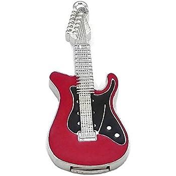 Memoria USB 2.0 Aneew de 16 GB de color rojo con diseño de guitarra