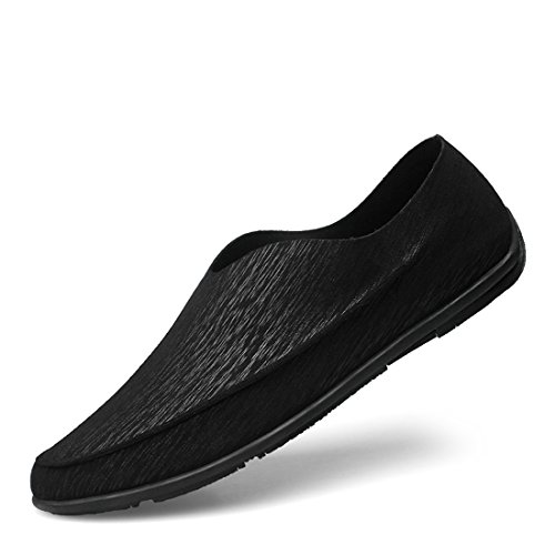 Minitoo Boys Mens Soft Slip-On Round Toe Casual Spring Loafers Black