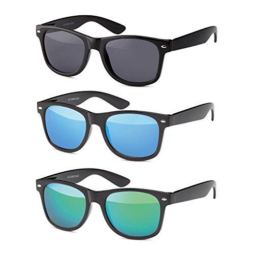 MOKIES Unisex Sonnenbrillen - UV400 Filterkategorie 3 CE Kennzeichnung - Wayfarer Design - Polycarbonat - mit Federscharnier - A-SET Grau, Blau, Grün