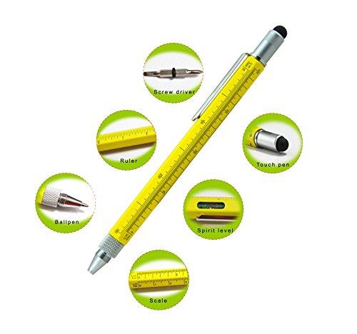Produktbild Fuxus Stylus Touchpen Multi Tool,  Eingabestift,  Kugelschreiber,  Schraubenzieher,  für iPad,  iPhone,  iPod,  Galaxy Tab,  Galaxy S2 S3,  Oneplus etc,  farbe:gelb