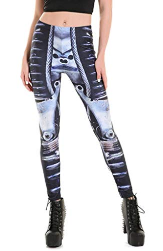 YiyiLai Mode Gebluemt Damen Sommerhosen Strumpfhosen Leggins Jeggings Treggings Hosen Hüfthose Strandhose Dehnbar M Roboter Mehrfarbig