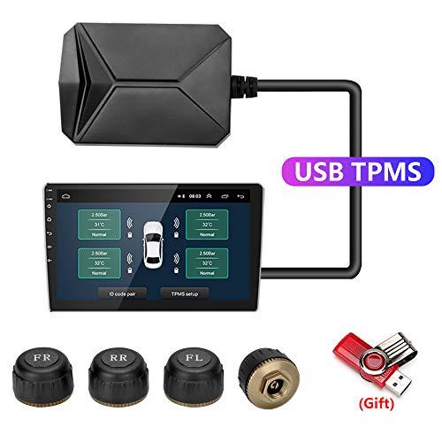 Jansite USB TPMS Sistema di Monitoraggio della Pressione dei Pneumatici, Sistema di Allarme della Pressione dei Pneumatici per Lettore di Navigazione Android per Auto con Sensori Esterni
