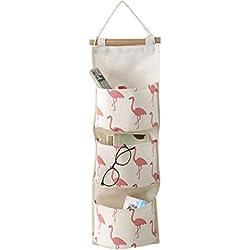 Borsa da immagazzinamento a muro per porte - Meedot Borsa per organizzatore con borsa per gadget Borsa pieghevole da parete Pink Flamingo