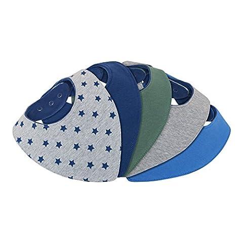 Bavoir bandana bébé garçon - lot de 5 - doublé coton éponge et polaire - triangle - pression - mixte uni bleu marine gris avec motif - nouveau-né 1 mois à 2 3 4 an-s - bavette-s enfant-s