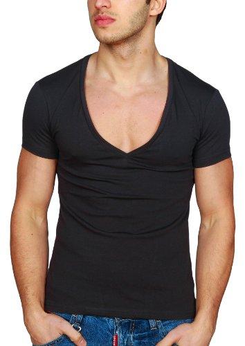 Herren T-Shirt Young & Rich Slimfit Tiefer V-Ausschnitt Deep in verschiedenen Farben und Übergrößen Schwarz